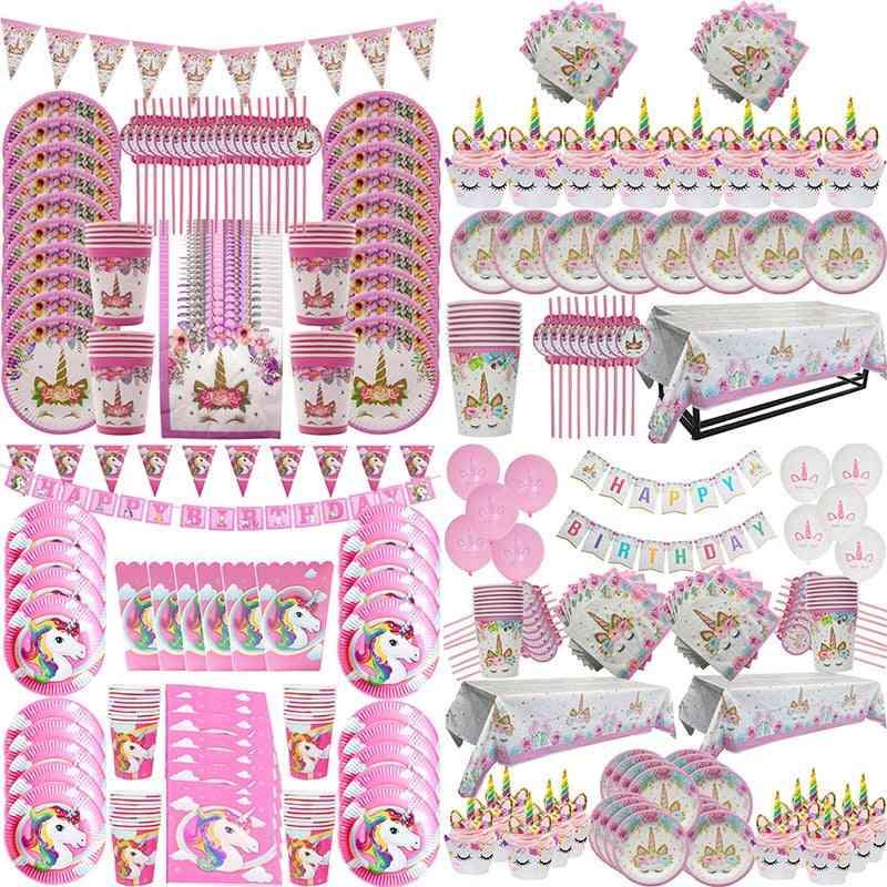 Decoration Paper Tableware Set, Birthday Party, Boy, Girl, Baby Shower