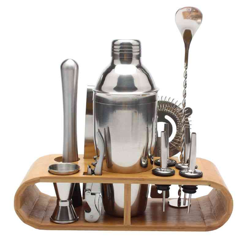 Stainless Bar Cocktail Shaker Set, Barware With Wooden Rack