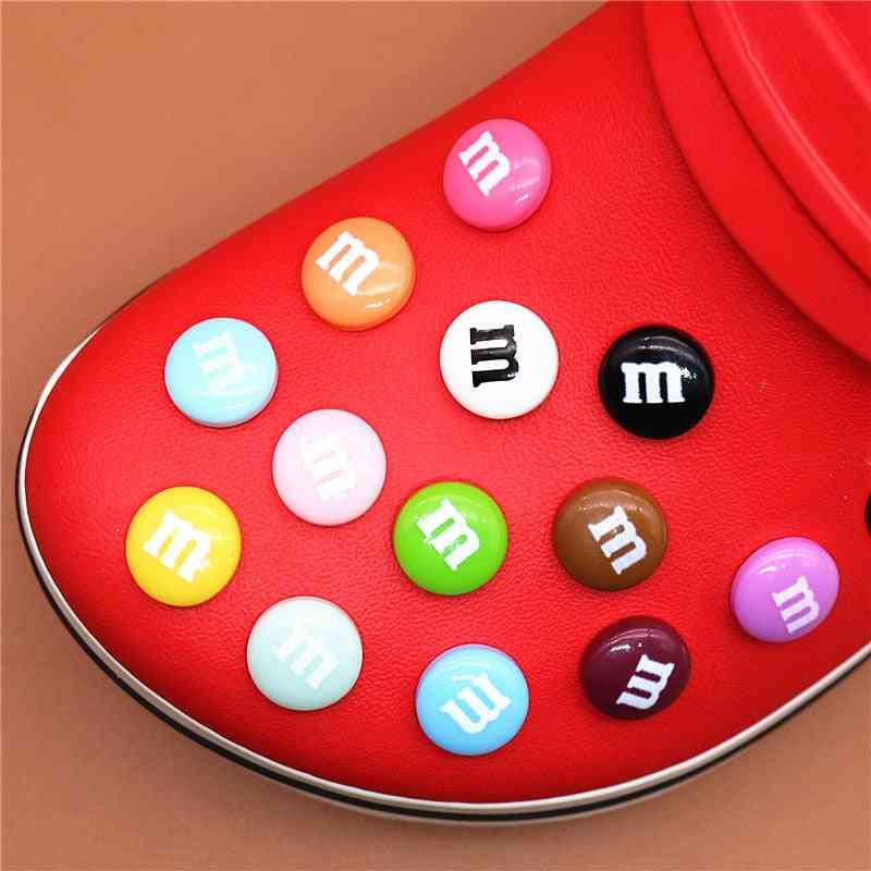 Single Sale Chocolate Candies Shoe Charms Accessories, Simulation Rainbow Beans, Decoration