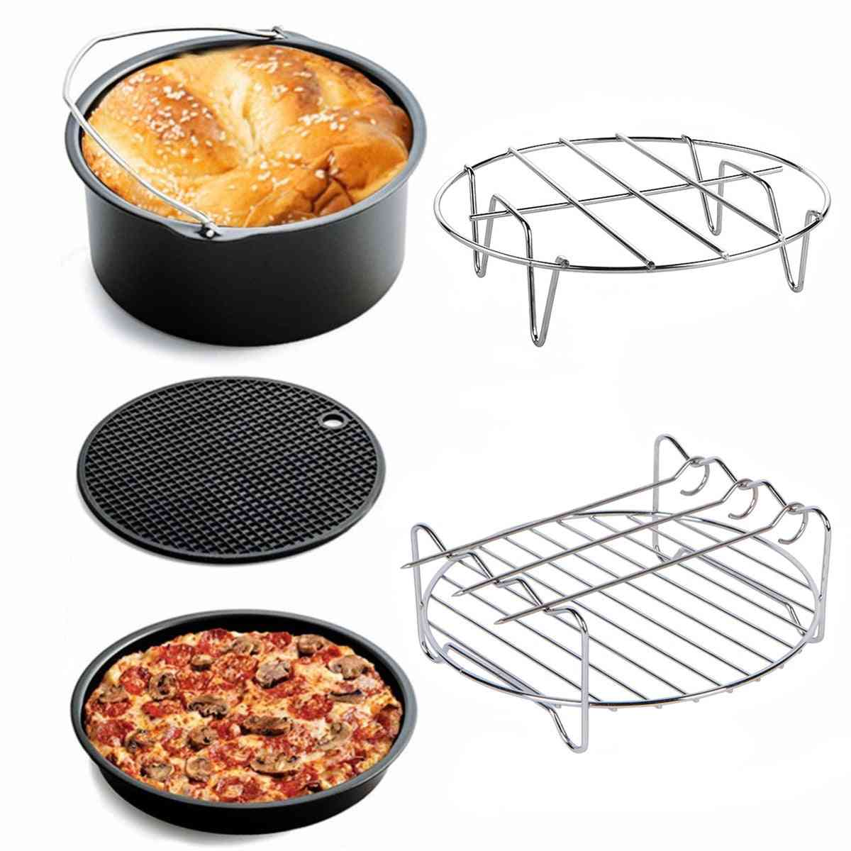 Air Fryer Accessories, Cake Pizza Cage, Steaming Frame, Grill Insulation Pad For All Airfryer