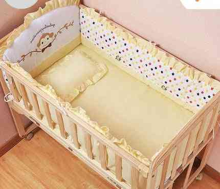 Fashion Bed Baby Solid Wood Paint Free Rocking Push Variable Desk Cradle