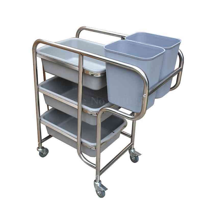 Bowling Cart Restaurant Trolley Stainless Steel Hotel Kitchen Tableware Cart