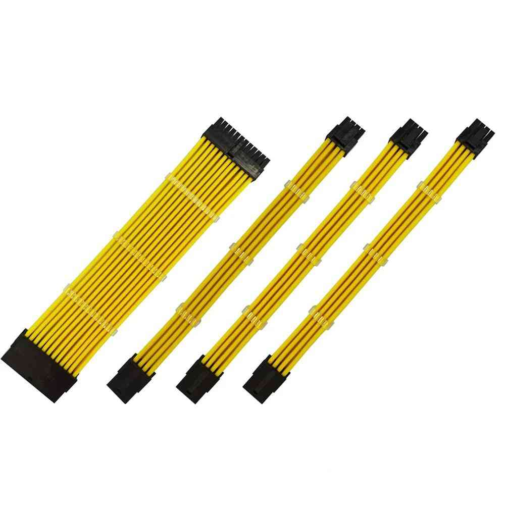 Yellow Color Female To Male 18awg Sleeved Psu Extension Power Cord / Cable Kit