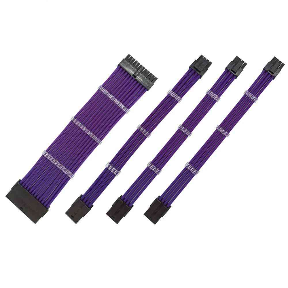 Purple Color Female To Male 18awg Sleeved Psu Extension Power Cord / Cable Kit