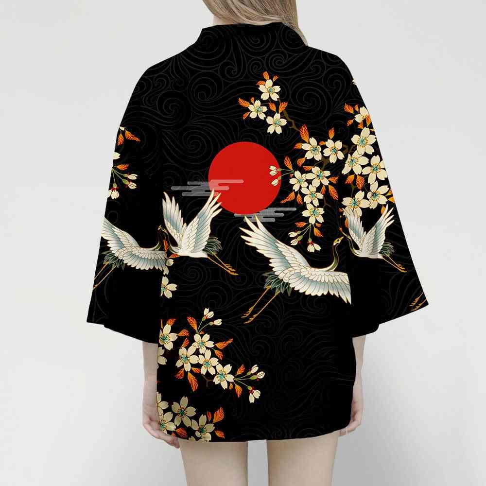 Crane Japanese Style Kimono Men Women Cardigan Dragon Traditional Clothing