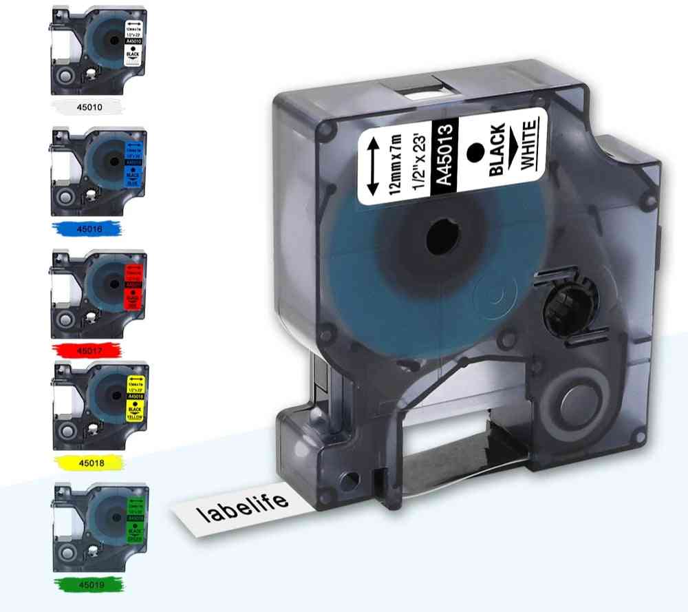 Multicolor Compatible D1 Label Tape 12mm 45018 40918 For Dymo Label Manager Maker