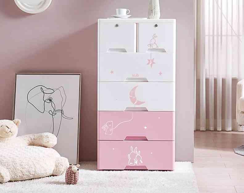 Children's Drawer, Receptionist Cabinet, Baby Wardrobe, Plastic Storage,  Multifunctional Five-bucket