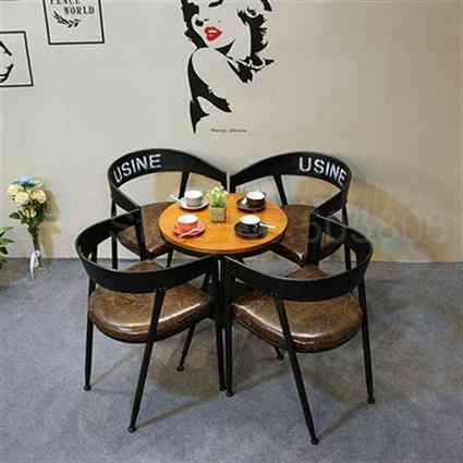 Iron Dining Chair, Industrial Wind Milk Tea Dessert Baking Shop Cafe Solid Wood Round Table And Chairs Combination