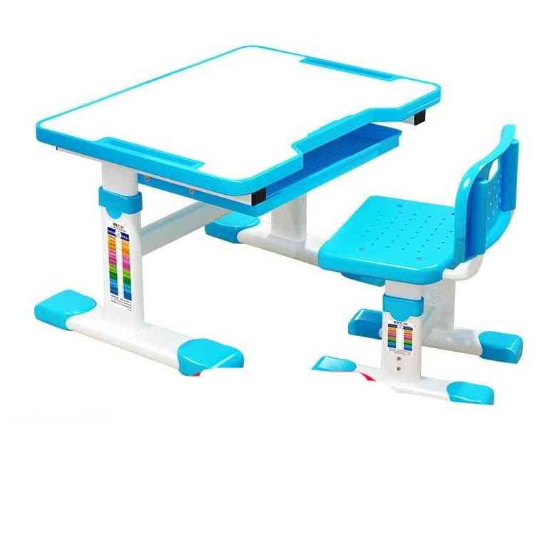 Children's Study Table Liftable Adjustment Writing Desk And Chair Set
