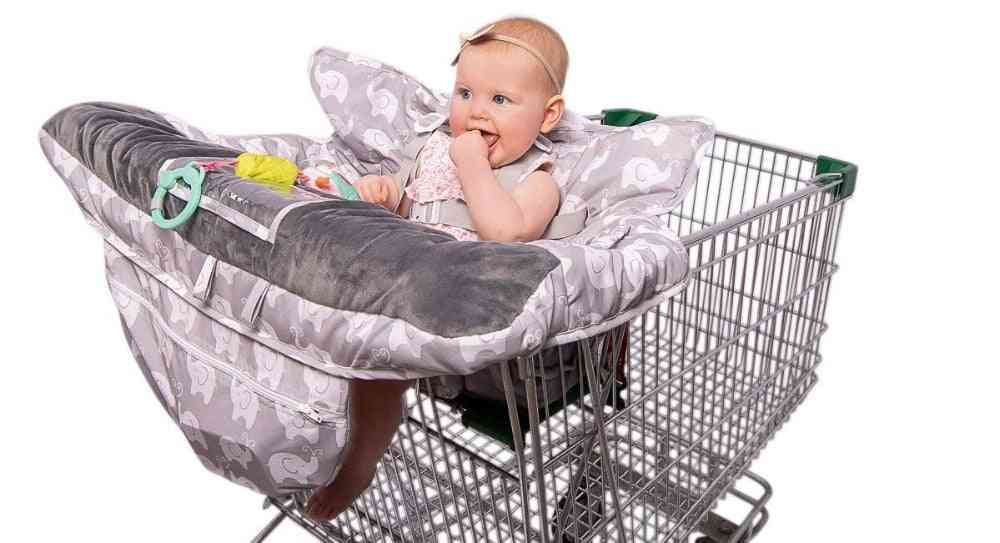 Luxury High-end 2-in-1 Baby Shopping Cart Cover & High Chair Covers With Safety Harness