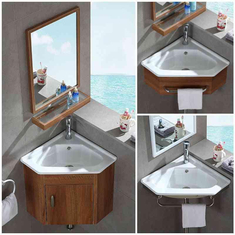 Mini Wall Mounted Basin Cabinet, Ceramic Washing Table Aluminum Cabinet