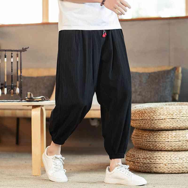 Men's Cotton Linen Loose Casual Pants, Capri, Kung Fu Uniform, Cropped Pant