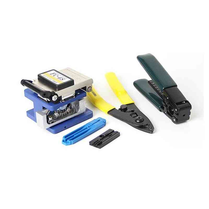 Fiber Optic Ftth Tool Kit With Fc-6s Cleaver And Power Meter 1mw Visual Fault Locator Wire Stripper Cfs-2