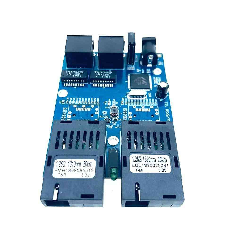 10/100/1000m Gigabit Ethernet Switch Optical Media Converter Single Mode 2 Rj45 Utp And 2 Sc Fiber Port Board Pcb