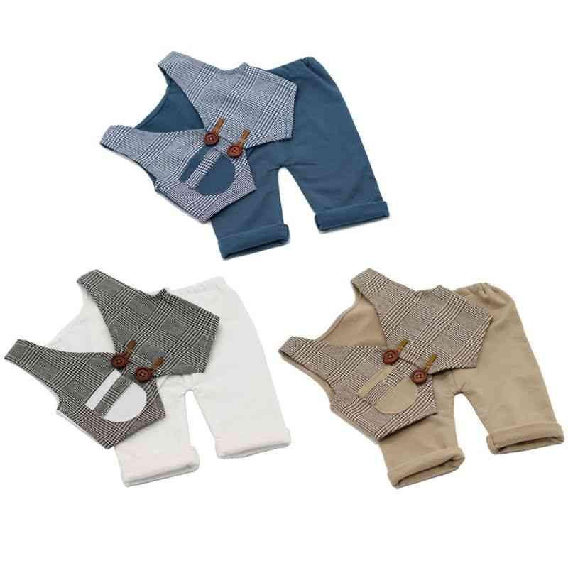 Pants And Vest Set Accessories For Newborn, Photography Props, Costume, Infant Baby Boy, Little Gentleman Outfit