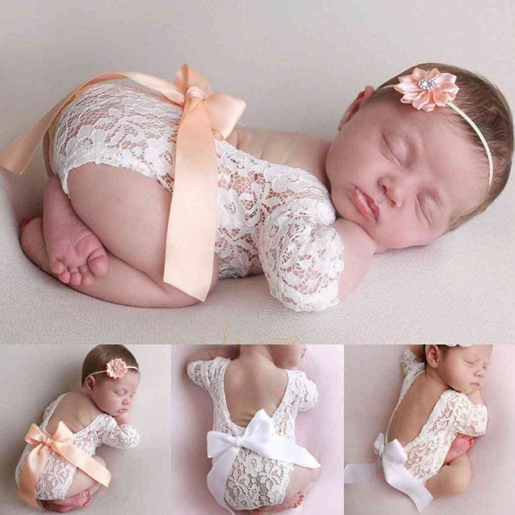 Newborn Photography Props, Baby Bow Clothing, Princess Lace Romper, Studio Shoot With Flower Headband