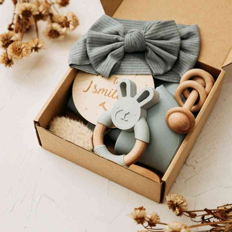 Baby Care Products, Silicone Bibs, Headband, Milestones Brush, Rattle Bracelet Photography Props Set