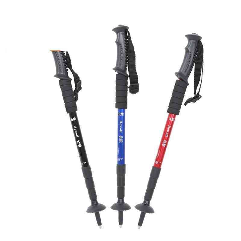 Aluminum Alloy, 4-sections Telescopic, Adjustable Trekking Alpenstock, Climbing Walking Stick