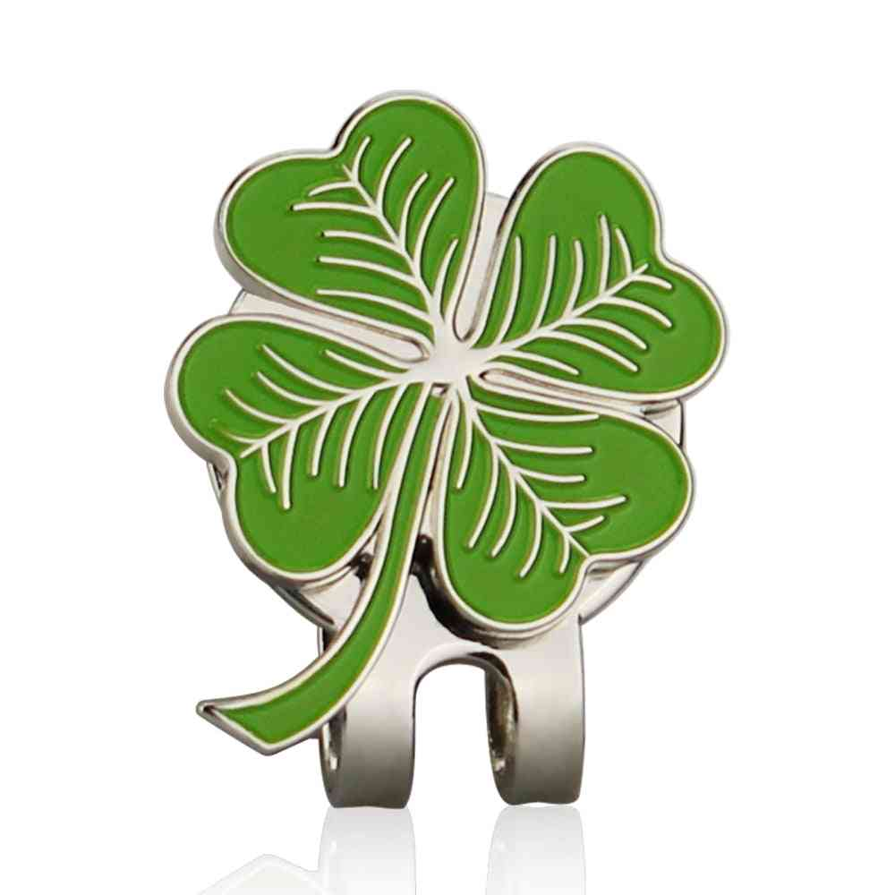 Four Leaf Clovers Golf Ball Marker With Golf Hat Clip Wholesale Golf Accessories For Golfer Gift Alloy Lucky Clover Marker
