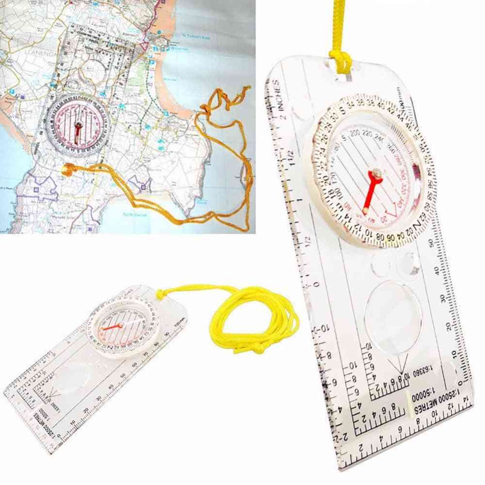 Drawing Scale Folding, Map Ruler, Buckle Pointing, Portable Handheld Compass
