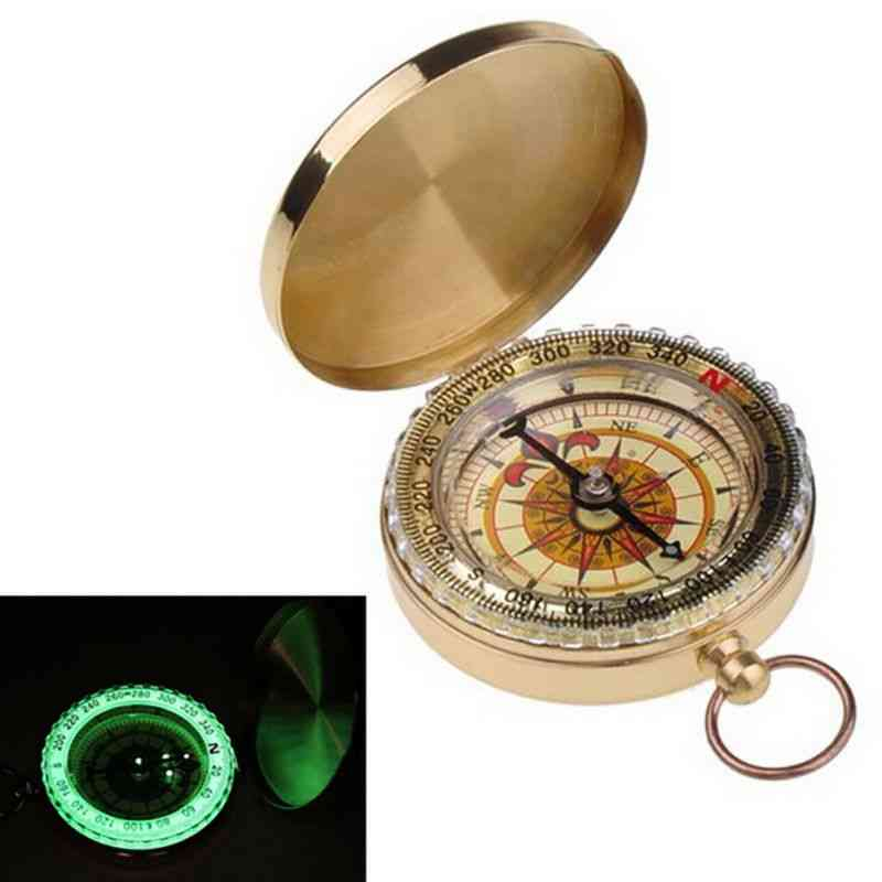 Portable Camping, Copper Luminous Compass- Outdoor Pointing, Guide Tools