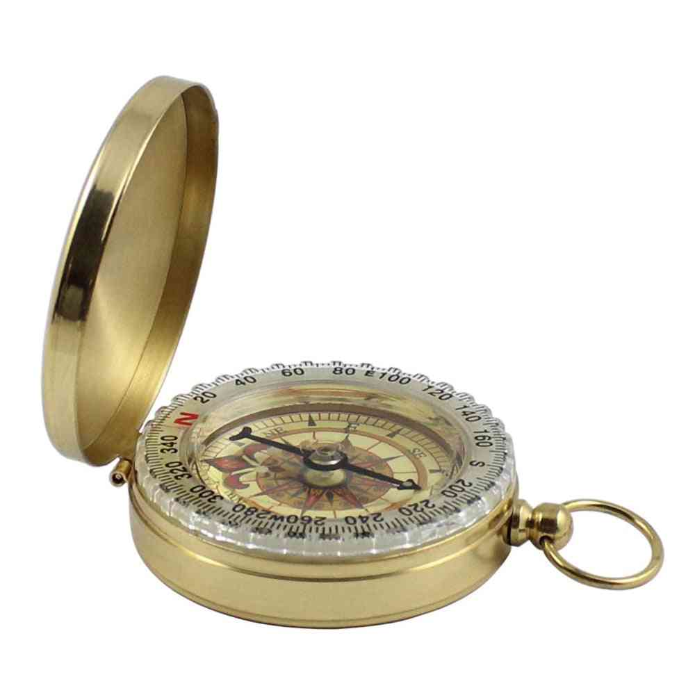 Portable Brass, Pocket Compass, Navigation For Outdoor Camping