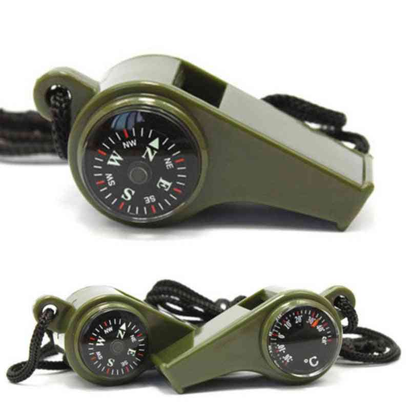 Outdoor Whistle Compass Thermometer, Camping, Hiking Accessories, Multifunctional Survival Tool, Nylon Neck Strap