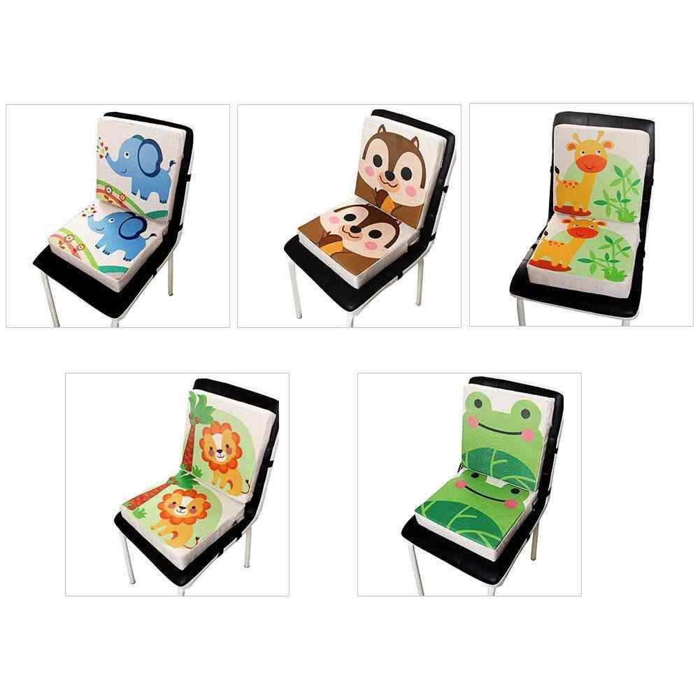 Children's Cartoon Printed Linen Dining Chair Booster Cushion
