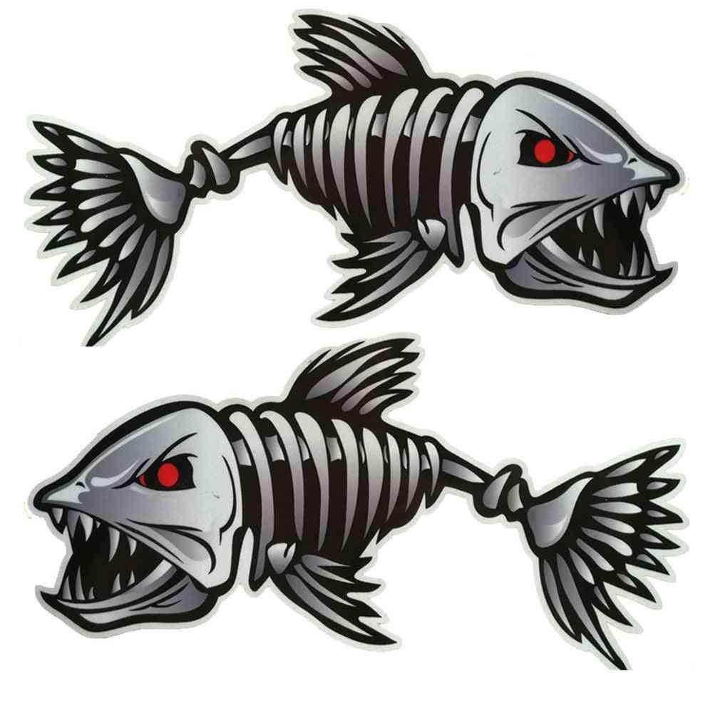 Scary Fish Skeleton Kayak Sticker, Marine Boat Car Waterproof Sticker