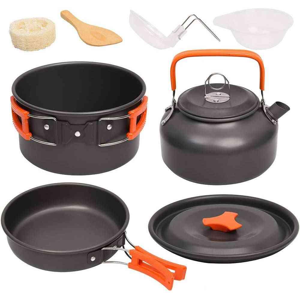 Outdoor Aluminum Cooking Set- Water Kettle, Pan Pot, Cookware Kit
