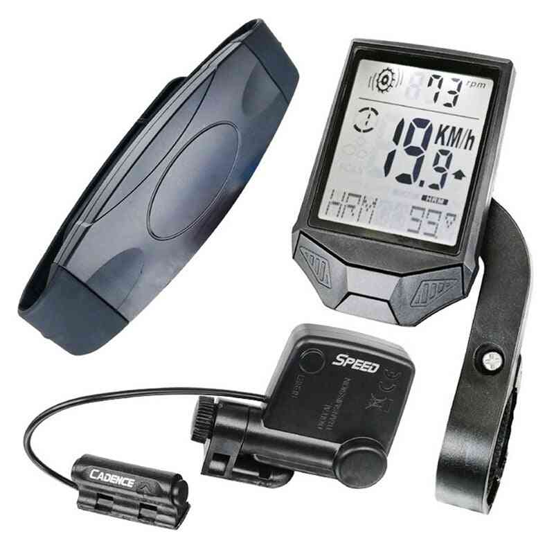 Wireless Large Display Lcd Cycling Computer + Heart Rate Monitor
