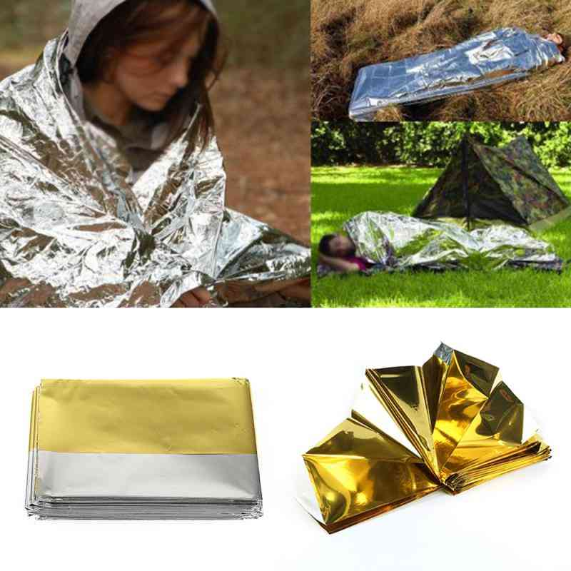 Emergency Blanket Premium Foil, Waterproof Rescue Curtain, Thermal First Aid Survival Camping Mat Tent