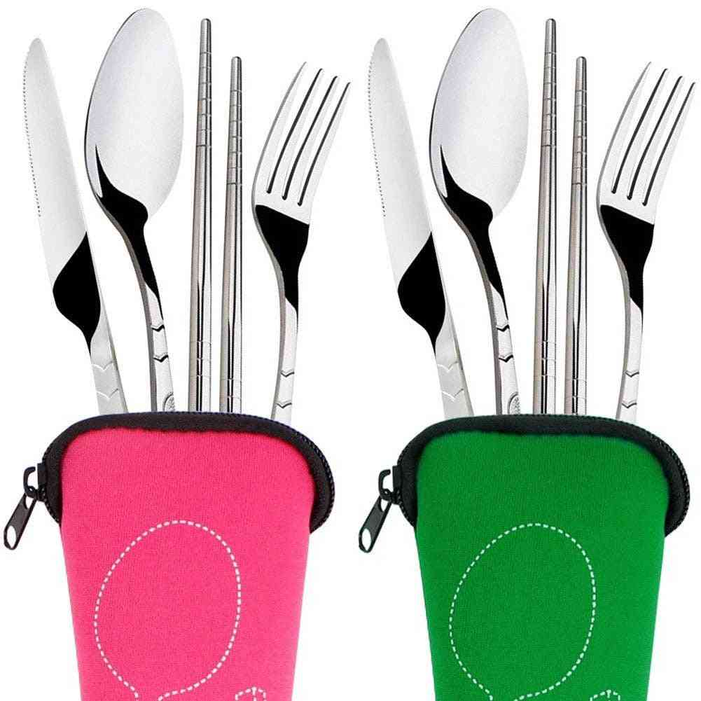 Stainless Steel Fork Spoon Chopsticks Travel Camping Cutlery Tools Knife