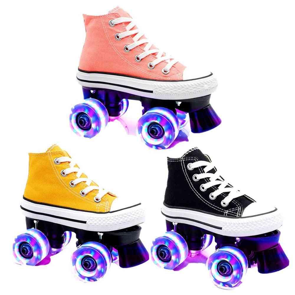 Kids Quad Roller Skates, Unisex Double Line Skates, Adult Kid Two Line Skating Shoes