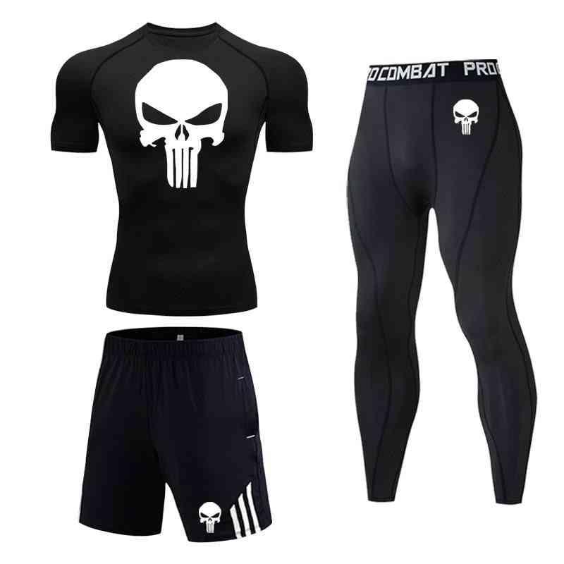 Men Skull Compression Set, Sports Tights T-shirt& Pants