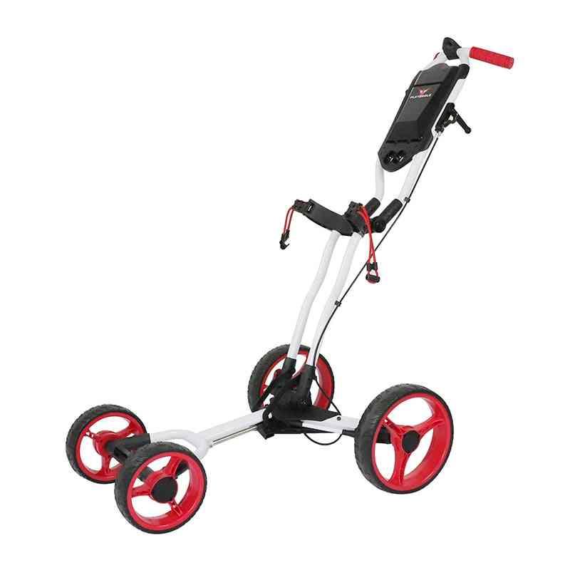4 Wheels Golf Push Cart, Easy Folding, Aluminum Alloy With Fixed-point Umbrella Holder, Bag Trolley