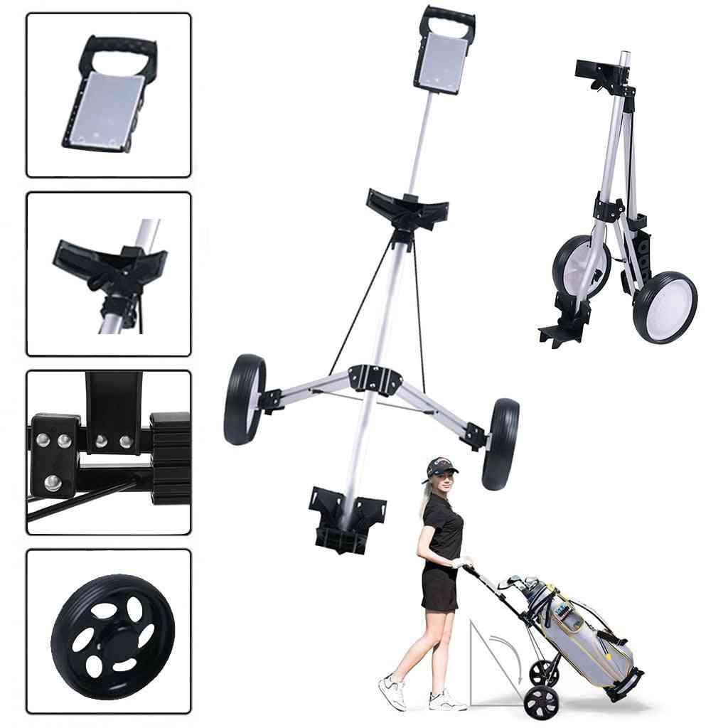 Golf Push Cart Swivel, Foldable 2 Wheel, Push, Pull, Holder Trolley, Swivel Steel, Light Stand