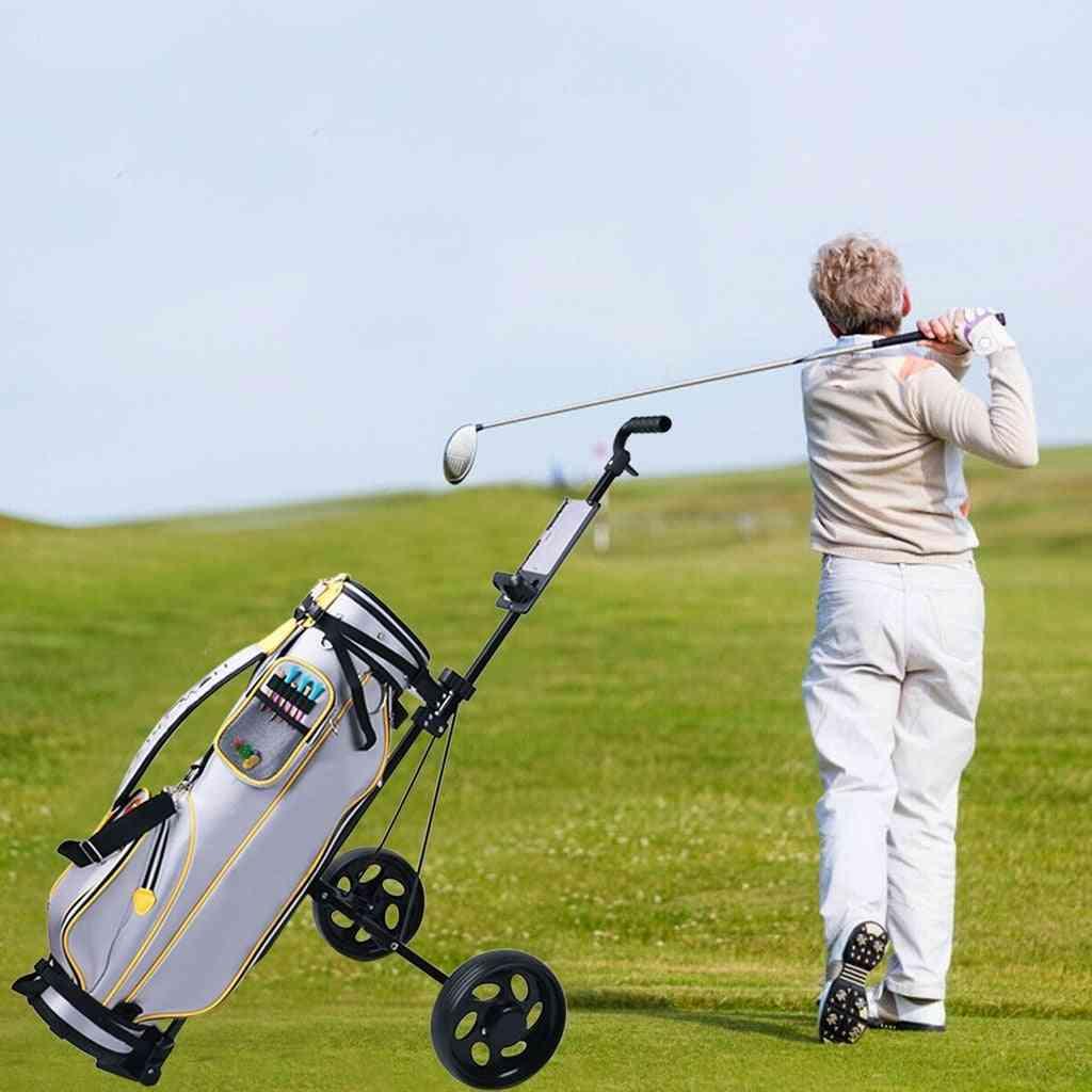 2 Wheel Push Pull Golf Cart, /cup Holder Trolley, Swivel Steel, Light, Foldable Push, Pull