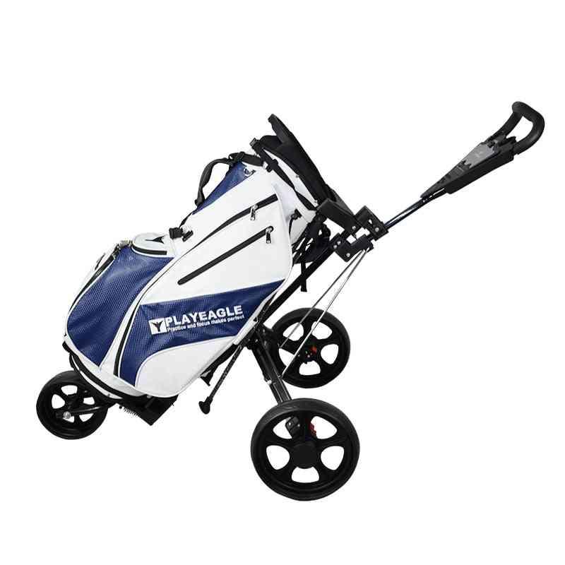 Push Golf-cart-bag-carrier, Umbrella-stand -trolley, Foldable 3-wheels
