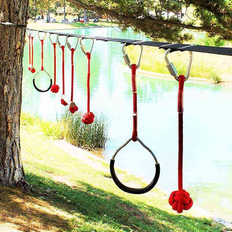 Ninja Obstacle Course Line Kit 12m Slackline 7 Hanging Obstacles 9 Buckles 440lbs For Ninja Warrior Kids Outdoor Backyard Fun