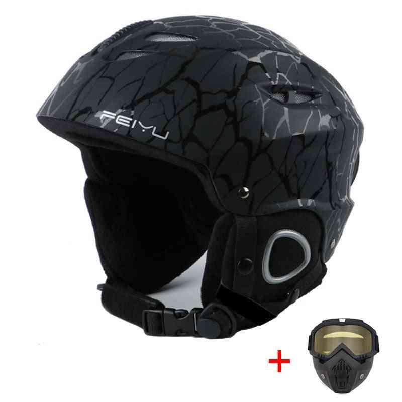 Outdoor Shockproof Ski Helmet With Goggles & Mask Windproof Thermal Skiing Skateboard Helmet