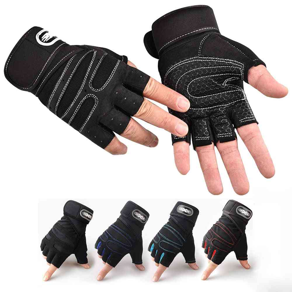 Heavyweight Exercises Half Finger Weight Lifting Gloves, Body Building Gym Gloves