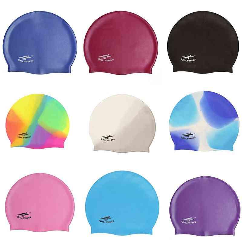 Swimming Cap Silicone, Women, Men, Waterproof Plus Size, Adult Long Hair, Sports High Elastic Swim Pool Hat