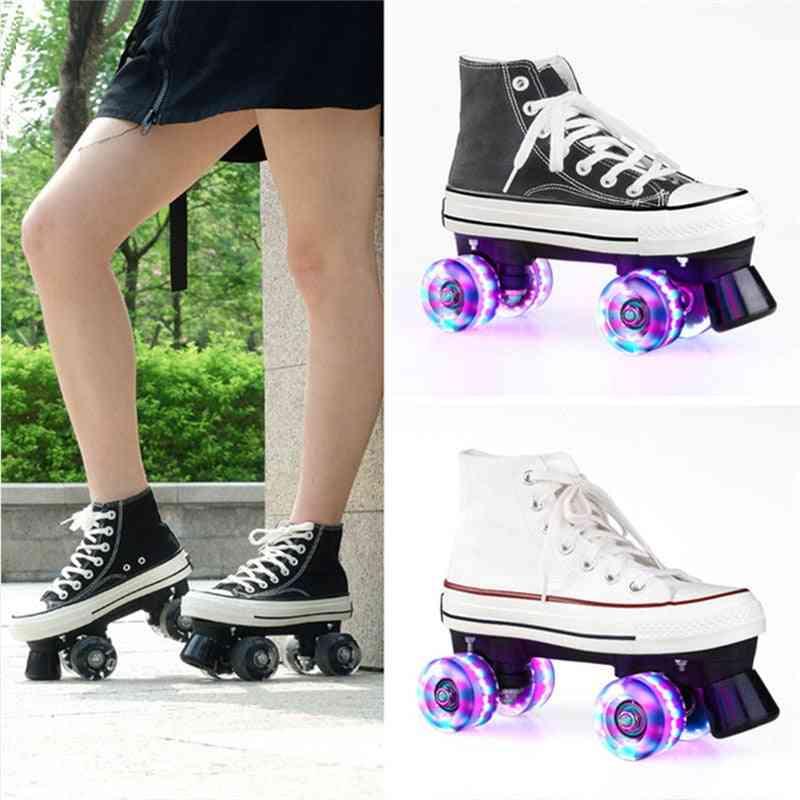 Unisex Canvas Double Line Skates For Adult/kids
