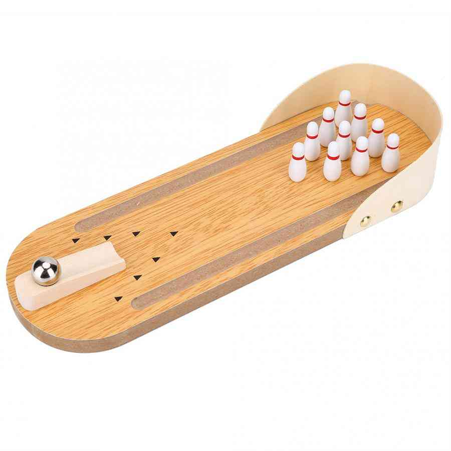 Mini Desktop Wooden Bowling Ball Board Game Toy