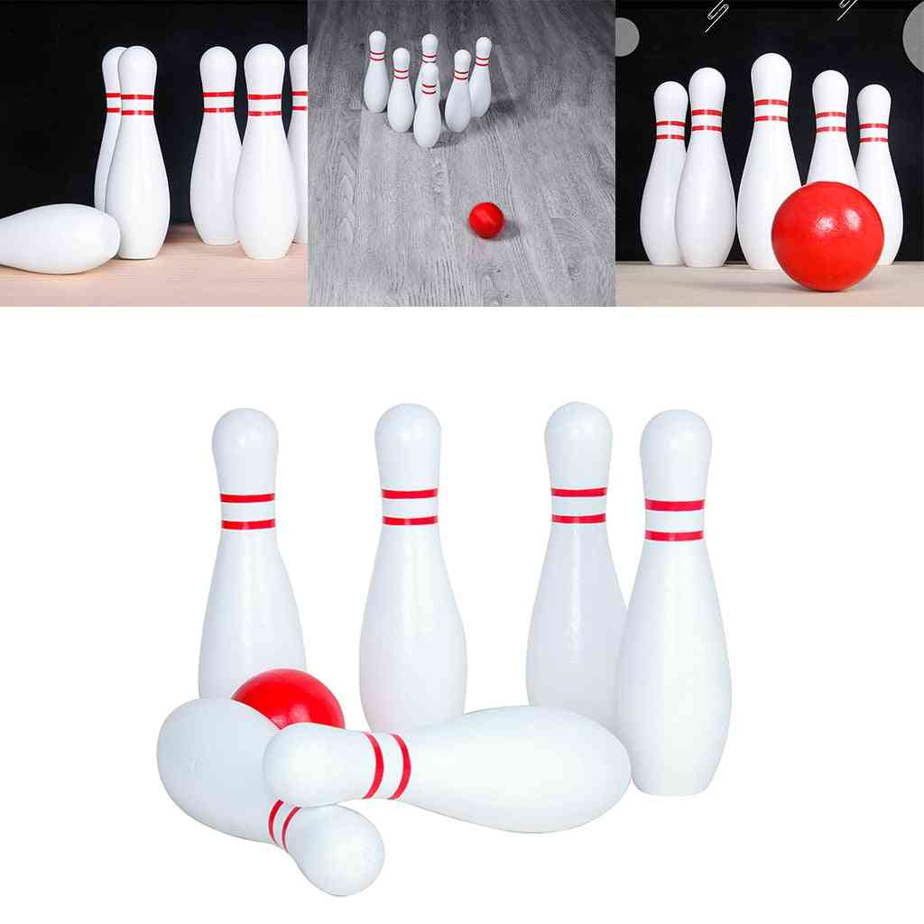 Kids Bowling Set,tossing Wooden Toy, Sport Game For Family Pins And Ball