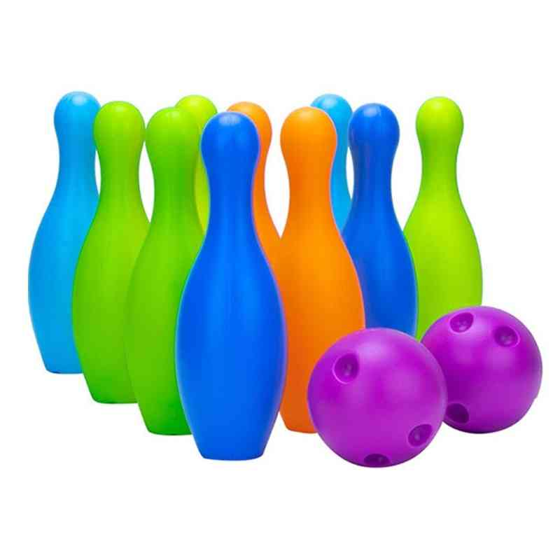 Small Plastic Bowling Pin Bowling Ball Set Fun Indoor Family Games Educational Toy