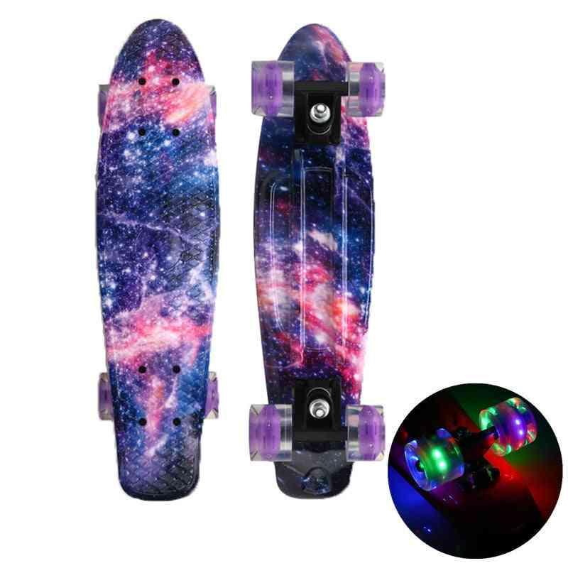 Skate Board Mini Cruiser, Pennyboard, Galaxy Starlight, Longboard, Flashing Light, Wheels Board For Outdoor Sports