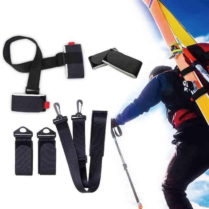 Adjustable Skiing Pole Shoulder Carrier Lash Handle Straps Porter Hook