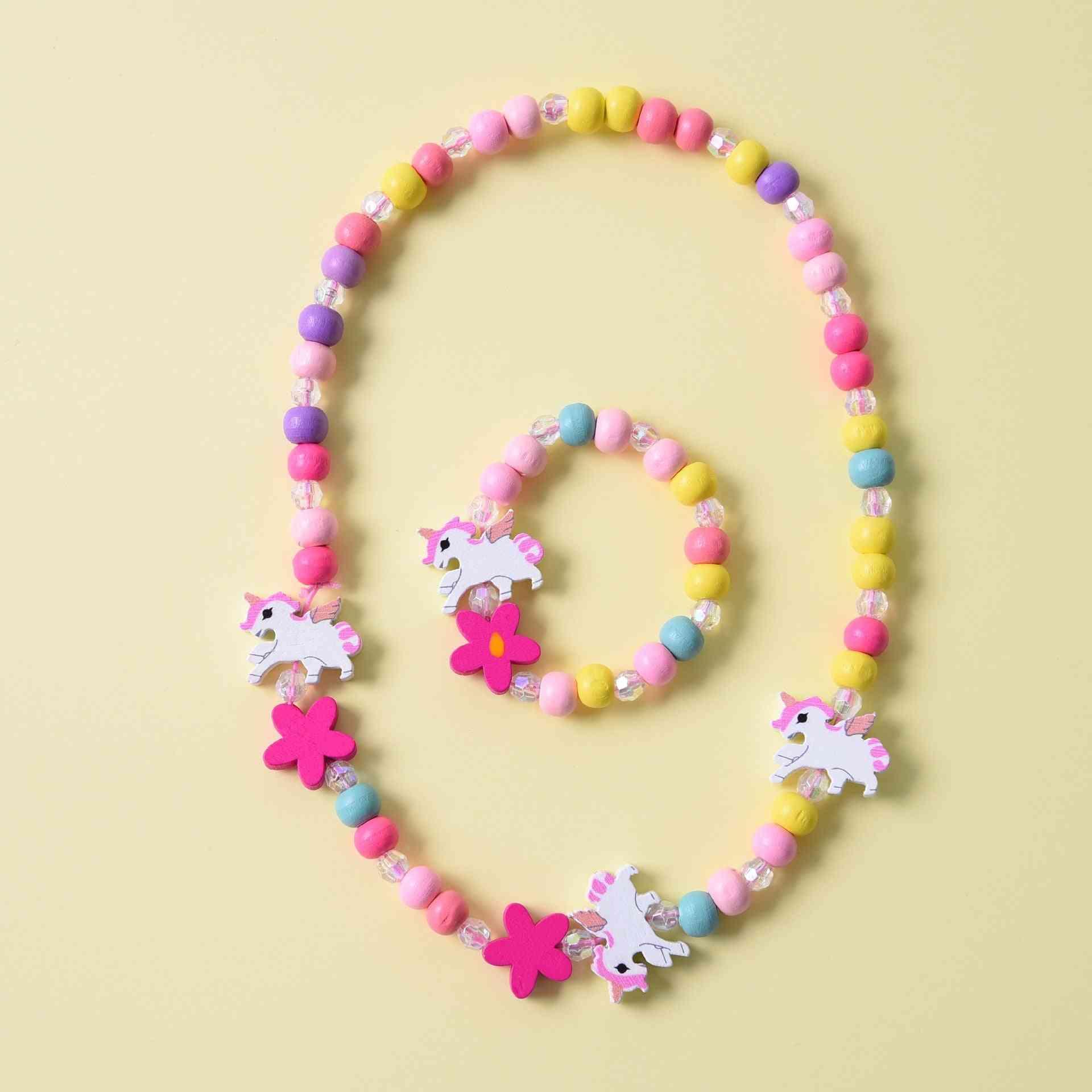 Wooden Flower Necklace Bracelet